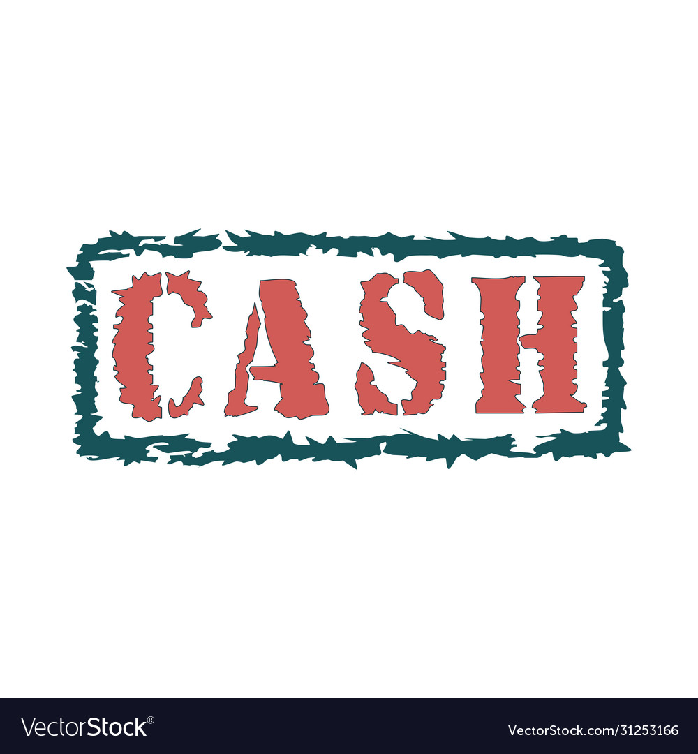 Rubber stamp with text cash inside