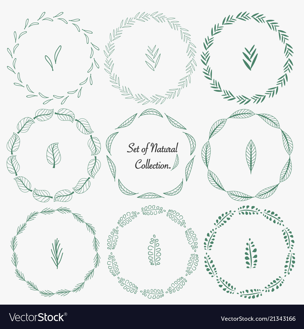 Set of hand drawn round frames for decoration
