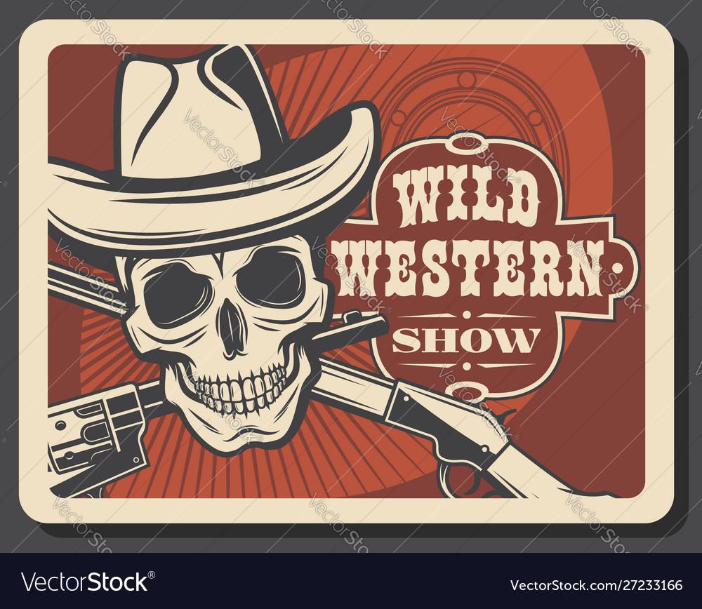 Skull in sheriff hat crossed guns wild west