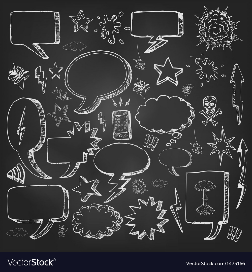 Speech bubbles doodles in black chalkboard