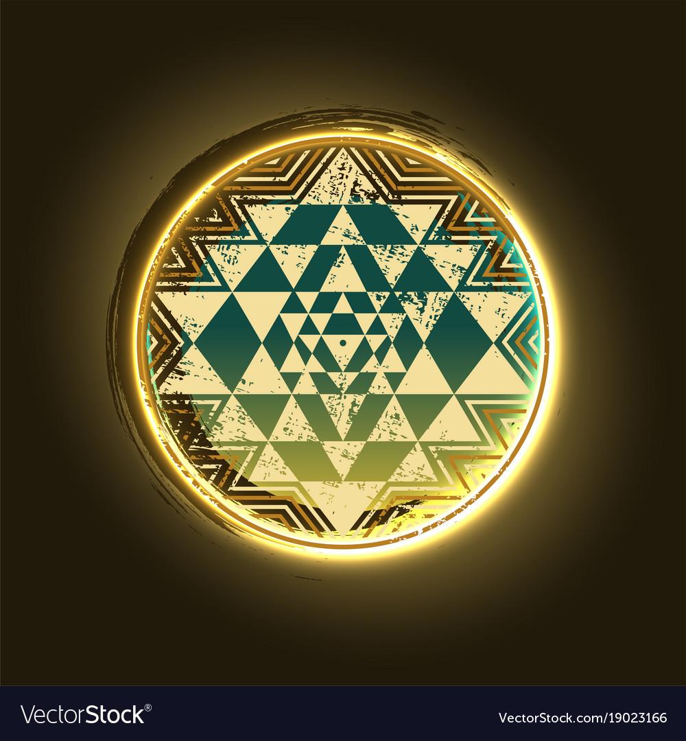 Sri Yantra Golden Symbol Royalty Free Vector Image