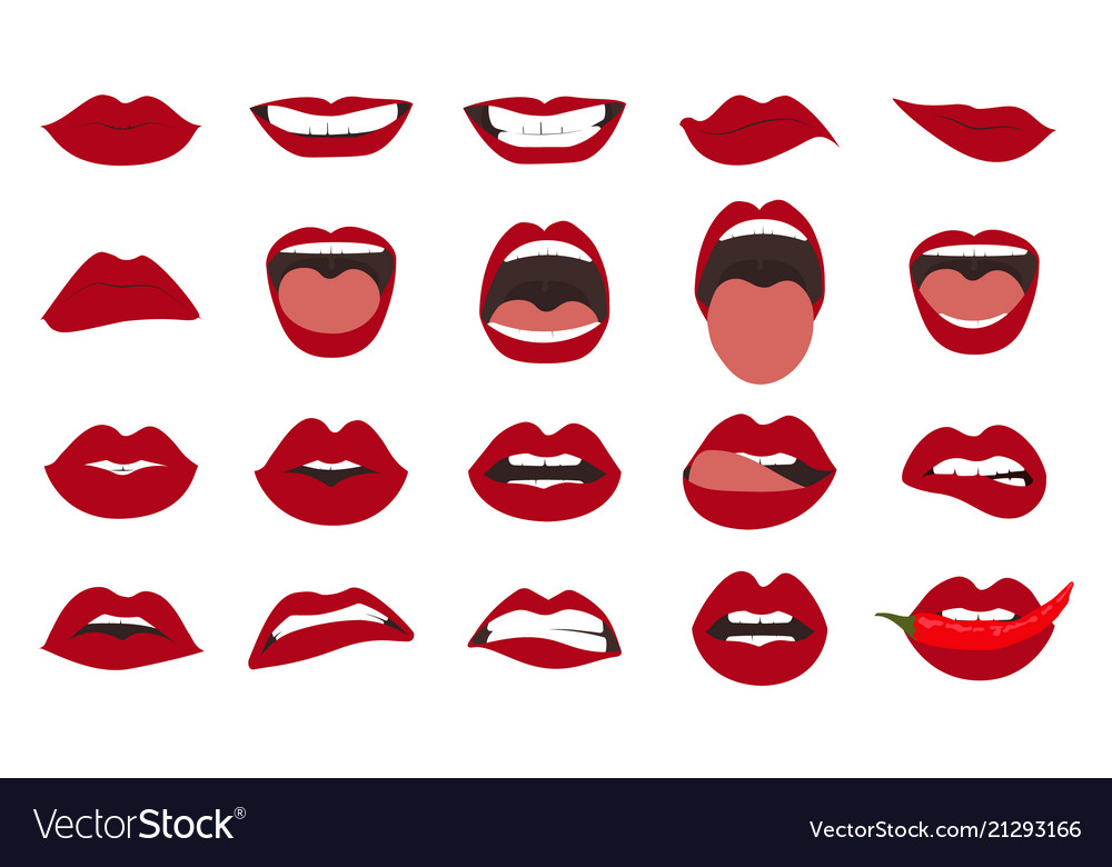 Woman lips gestures set girl mouths close up with