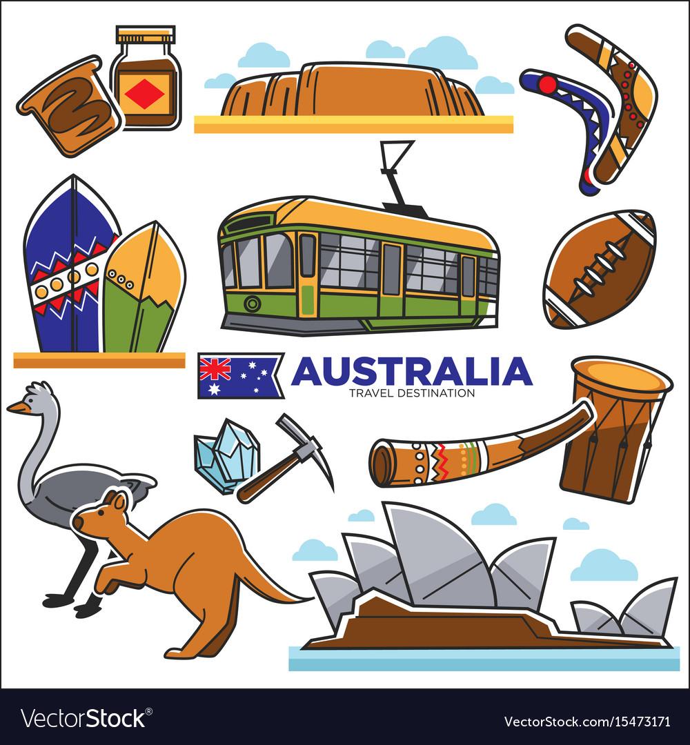 Australian traditional symbols colorful set