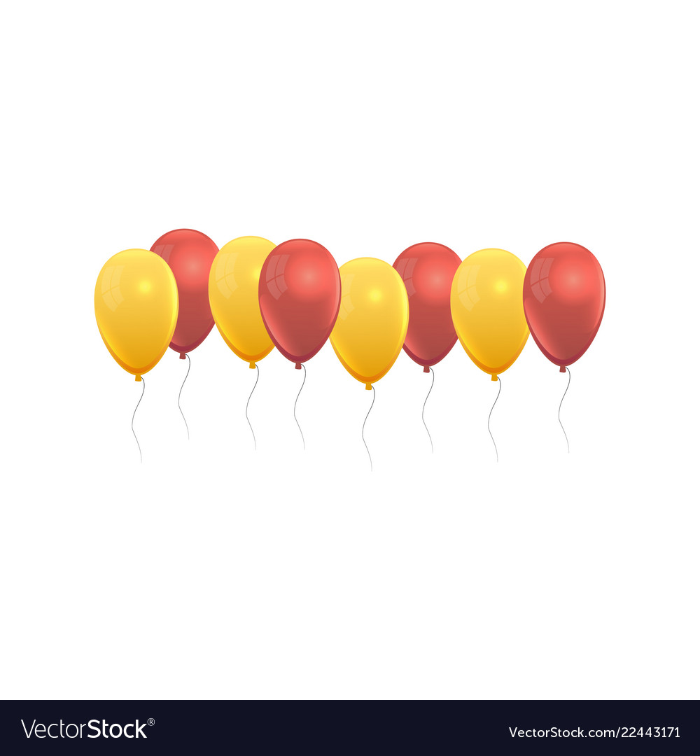 Balloons set in yellow and red colors