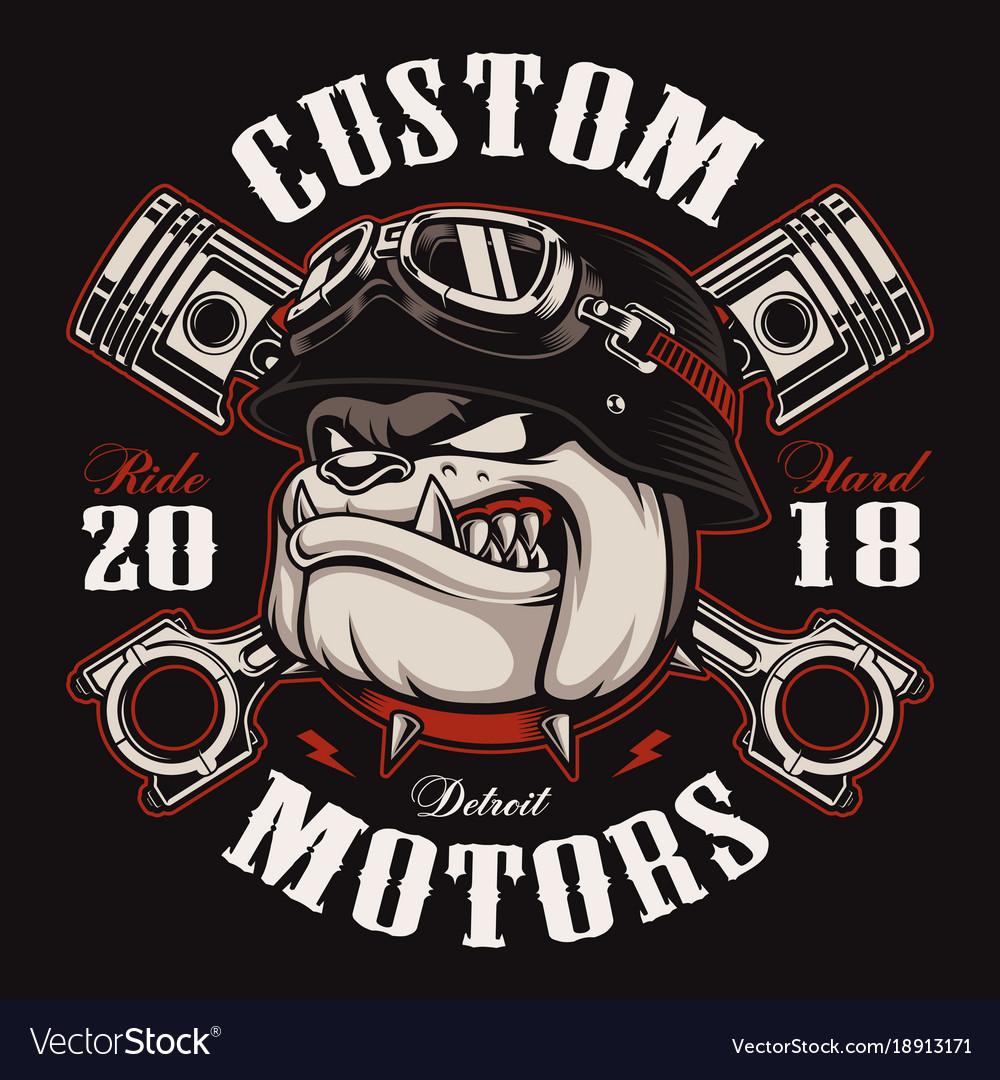 Biker bulldog biker t-shirt design color version