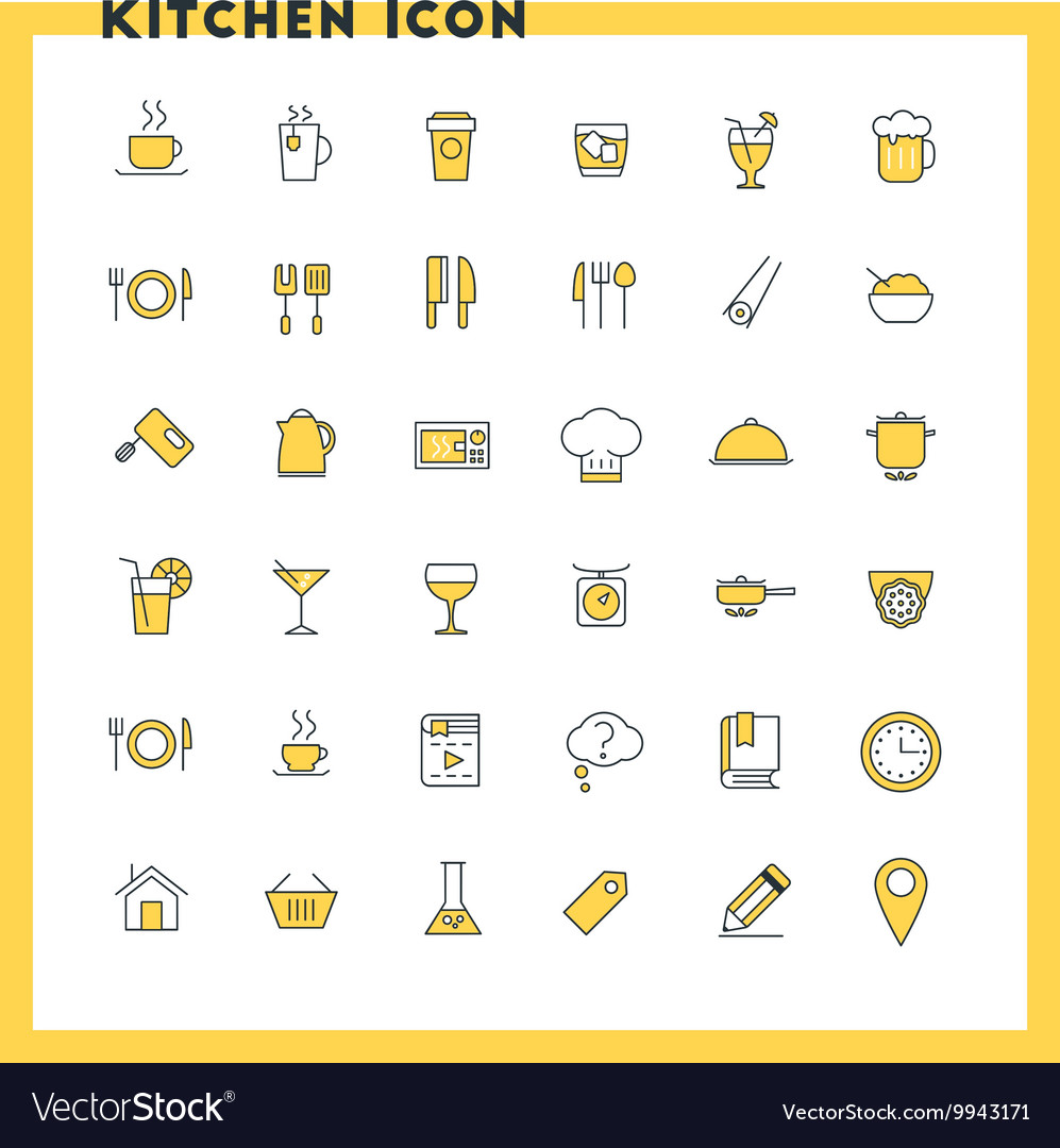Food and kitchen flat design icon set Food