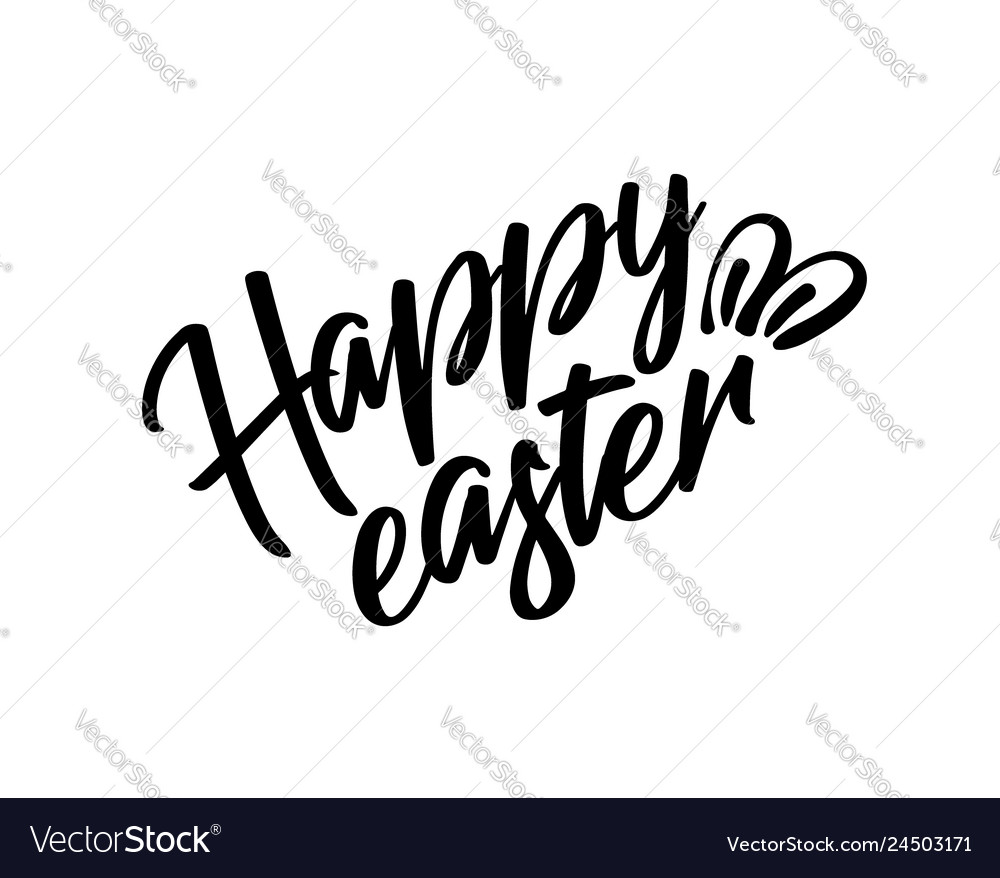 Happy easter black lettering text with rabbit