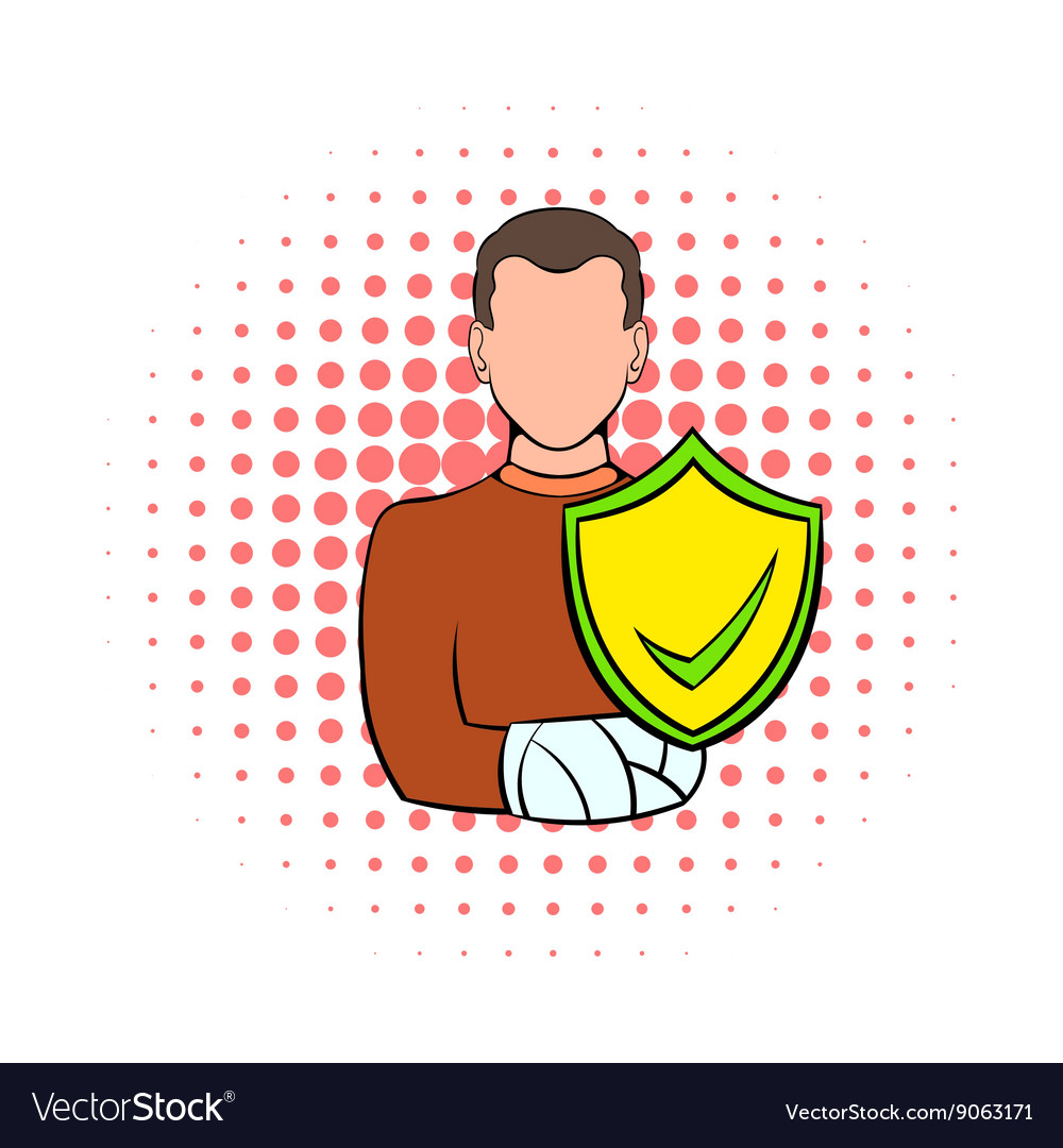 Man with broken arm with shield icon comics style