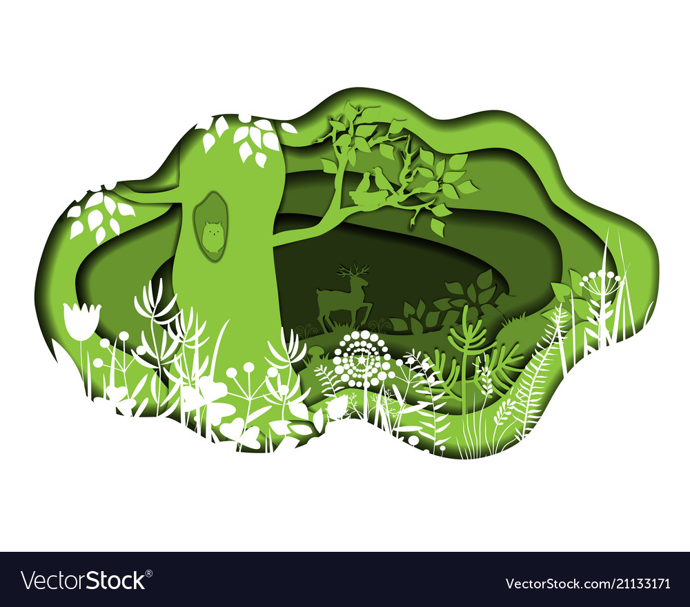 Paper art with forest plants and deer