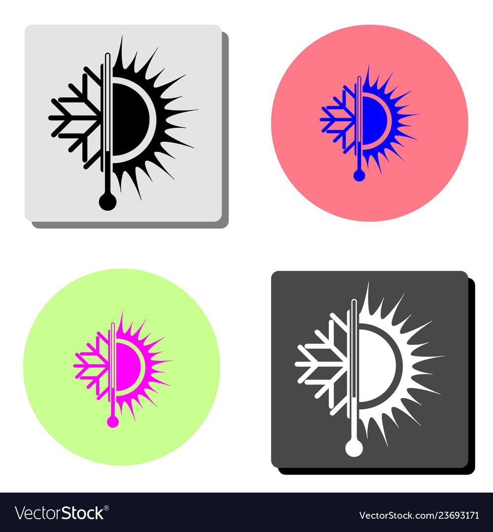 Sun and snowflake flat icon
