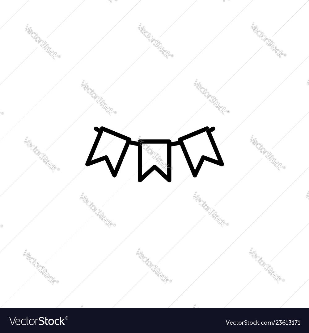 Web line icon flags garland holiday decoration