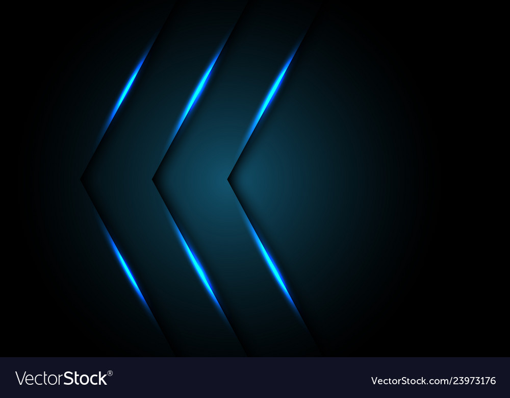 Abstract blue light arrow direction on black