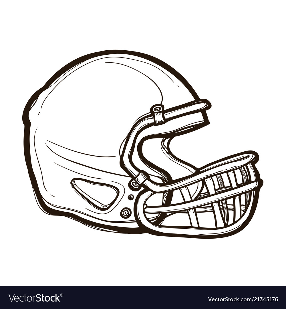 American football helmet isolated coloring book vector image on VectorStock