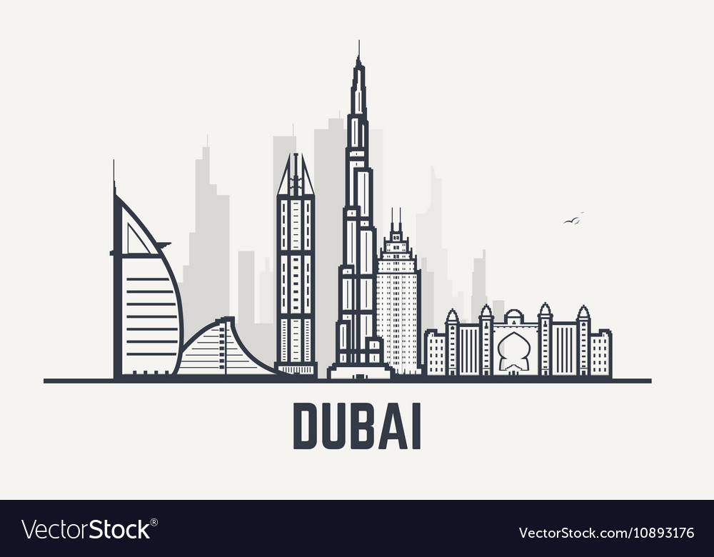 Dubai black and white lines view