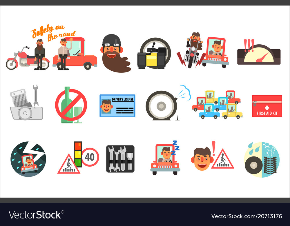 Flat set of cartoon items related to safety