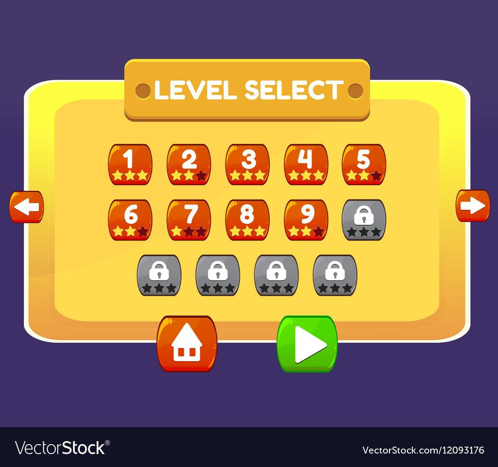 Level Select game menu interface panels ui buttons