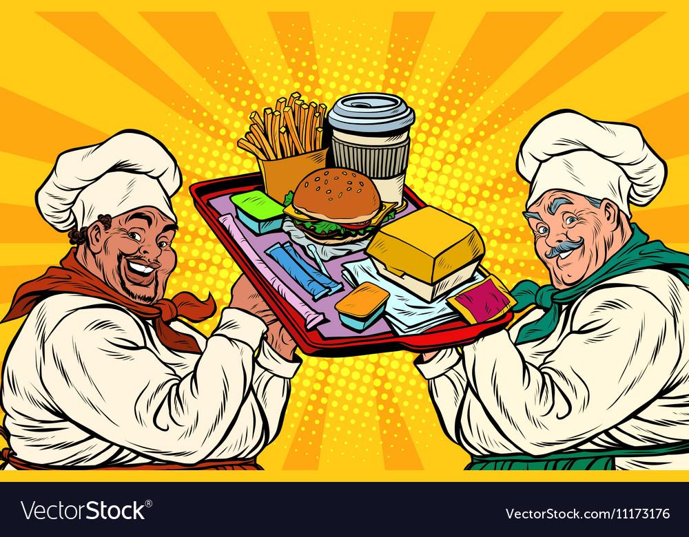 Multi ethnic cooks fast food vector image