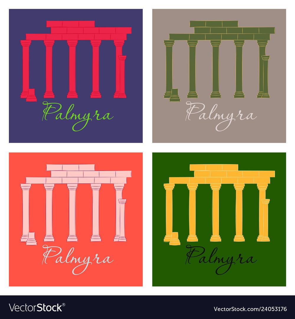 Palmyra in syria flat cartoon style historic