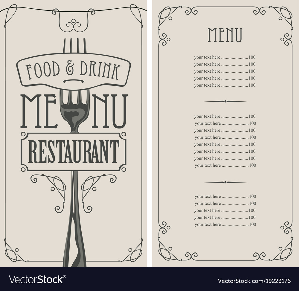 restaurant menu with price list fork and ribbon vector image