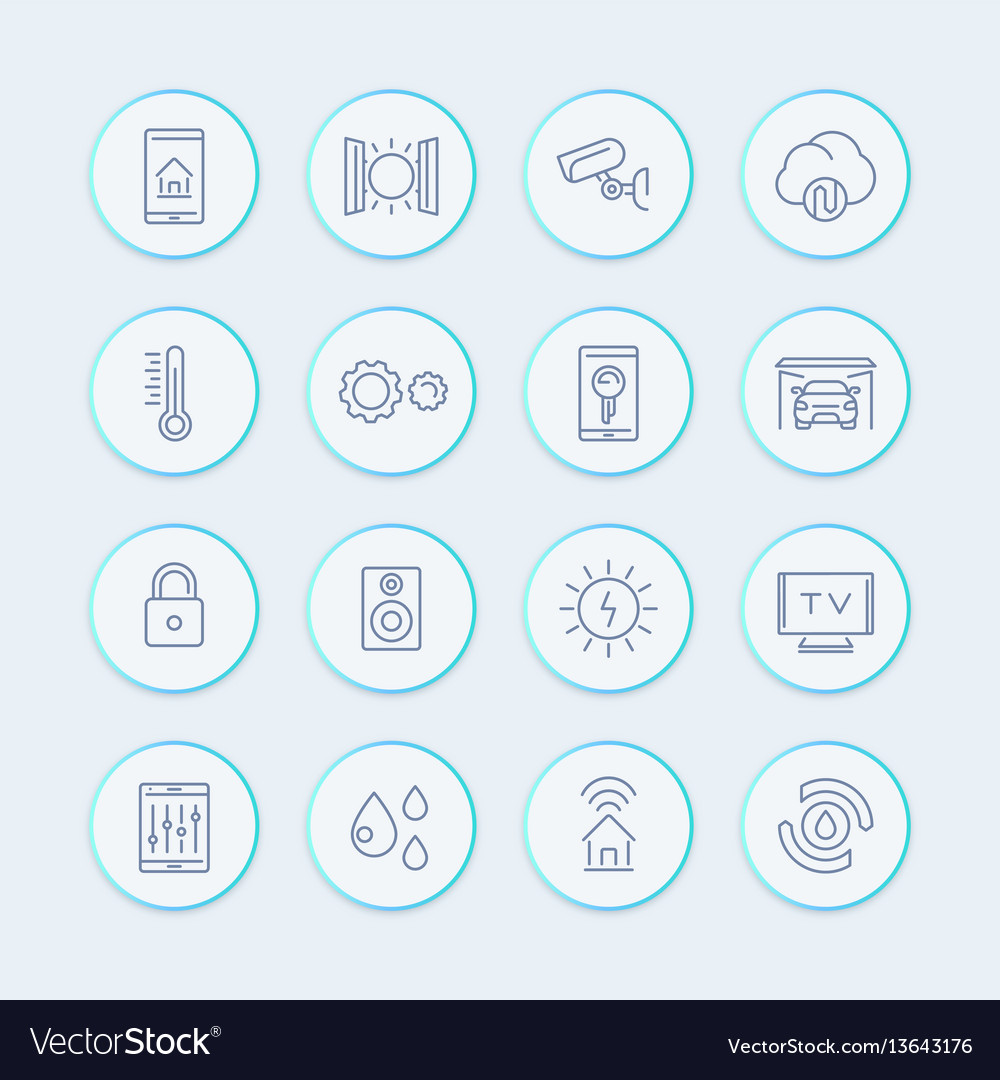 Smart house technology system line icons home