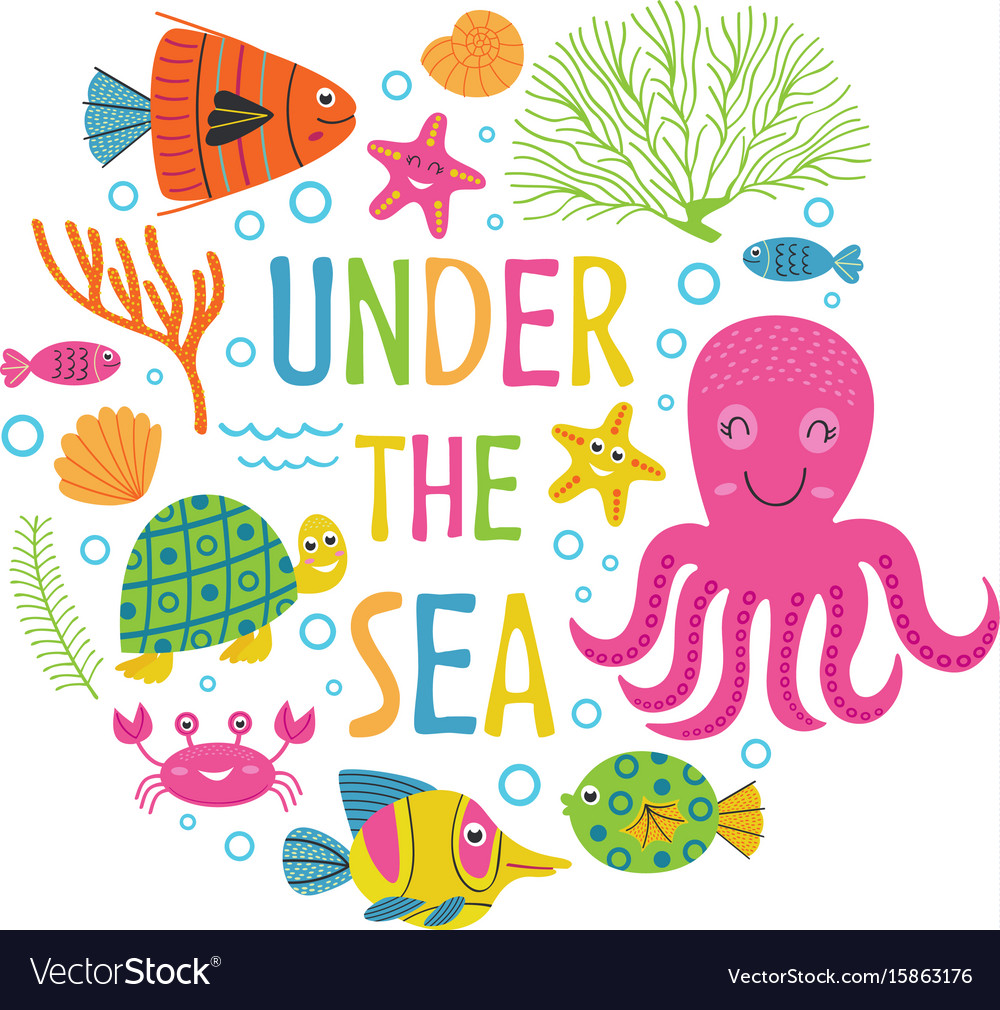 Under the sea card with marine animals