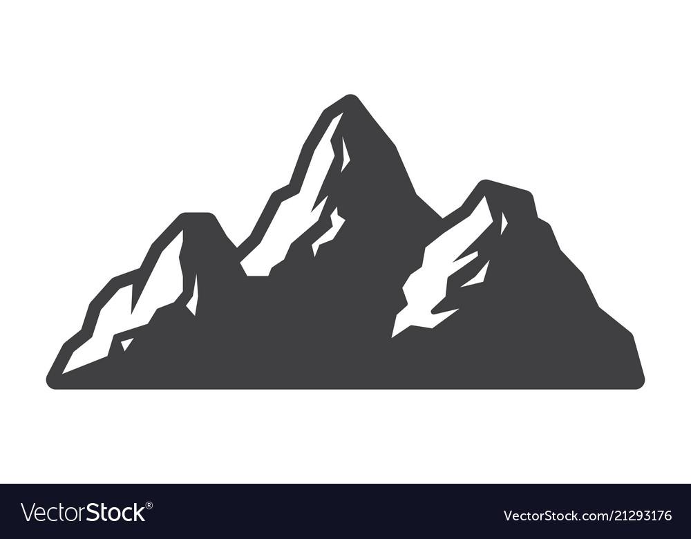 Vintage mountains landscape silhouette concept