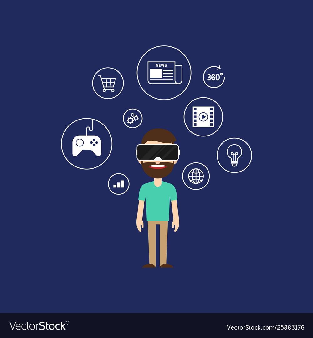 Virtual reality technology concept flat design