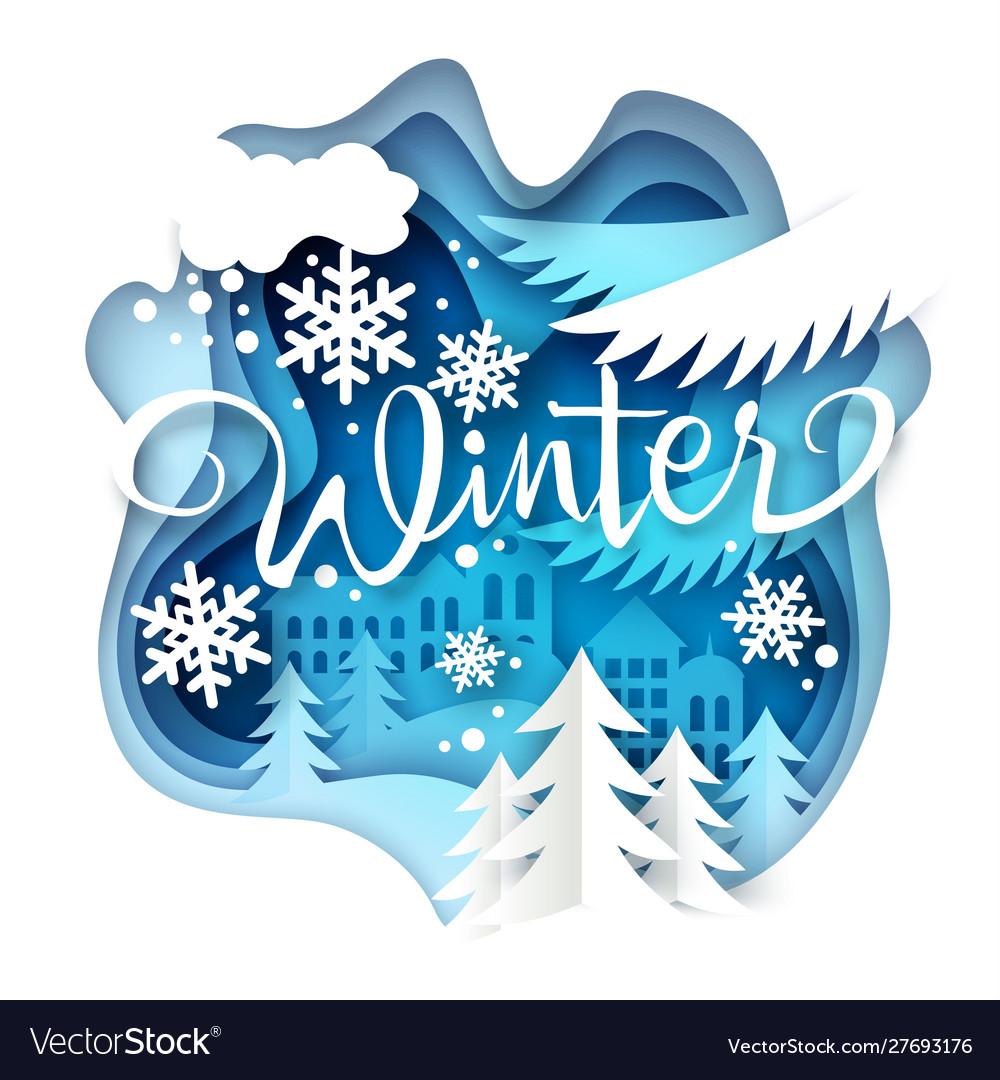 Winter layered paper art style