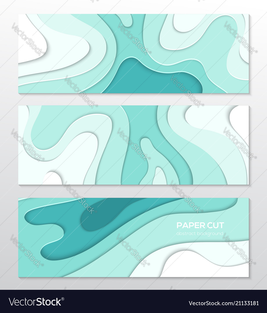 Blue abstract layout - set of paper cut