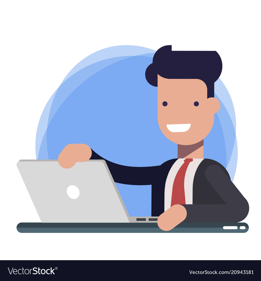 Businessman character working on laptop male