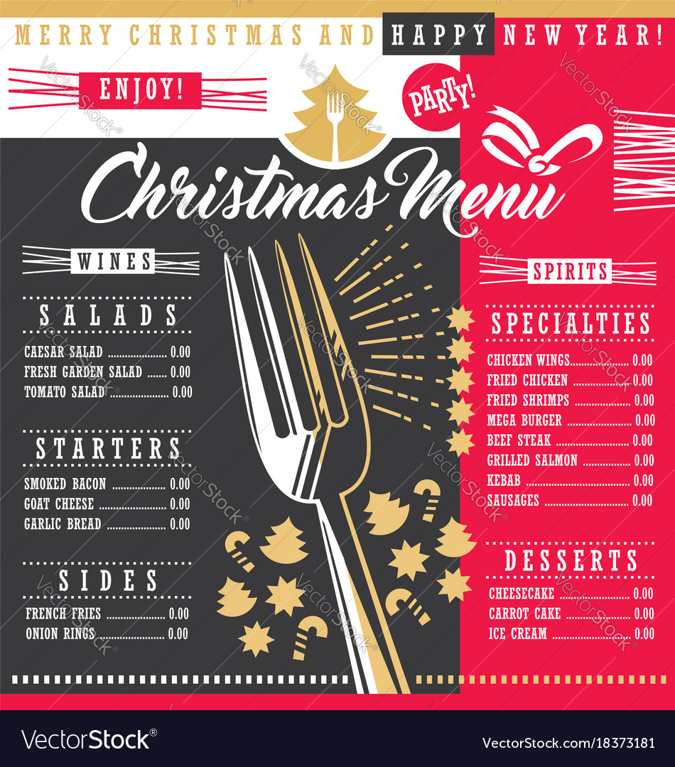 Restaurant Christmas Menus 2021 Christmas Restaurant Menu Template With Christmas Vector Image