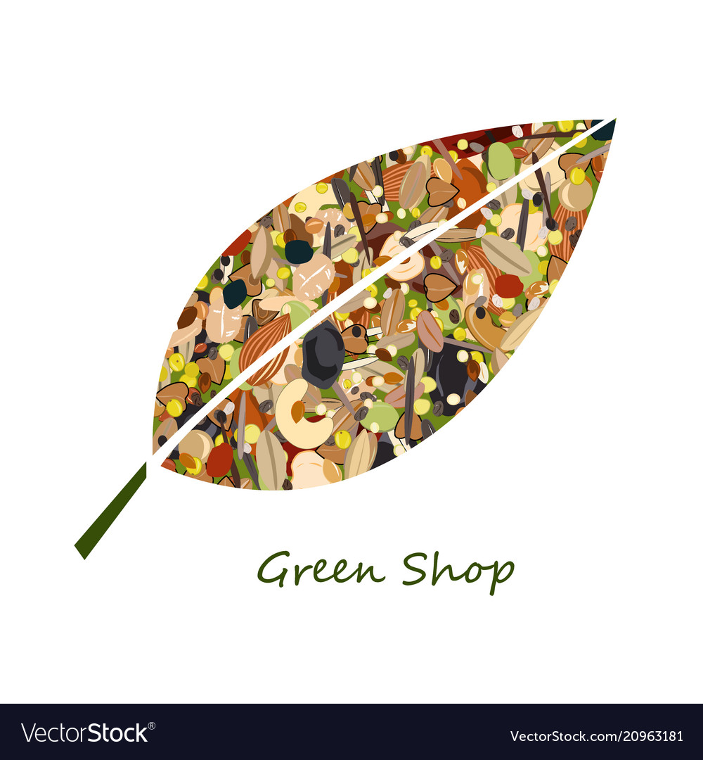 Cute leaf shape logo from nuts dried fuits grains