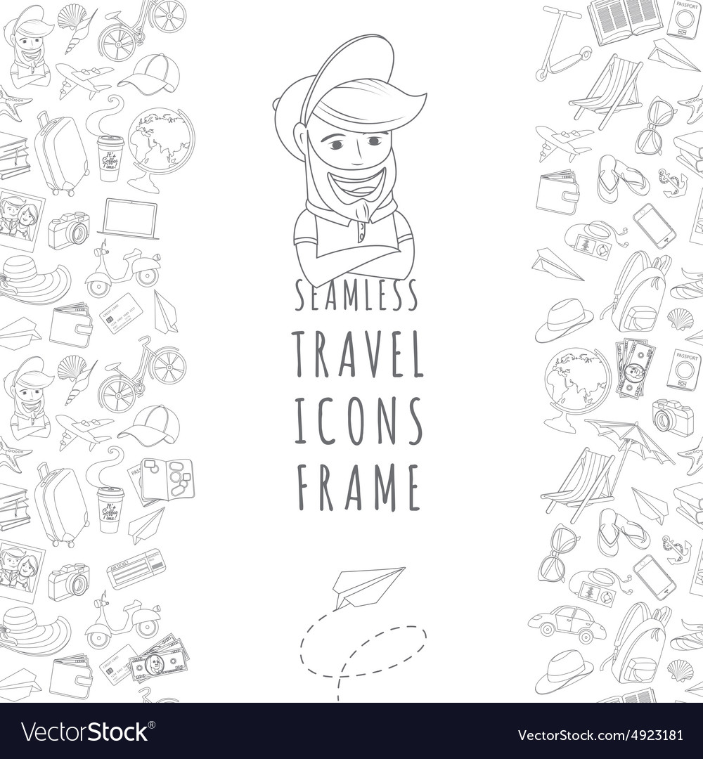 Doodle icons seamless travel frame