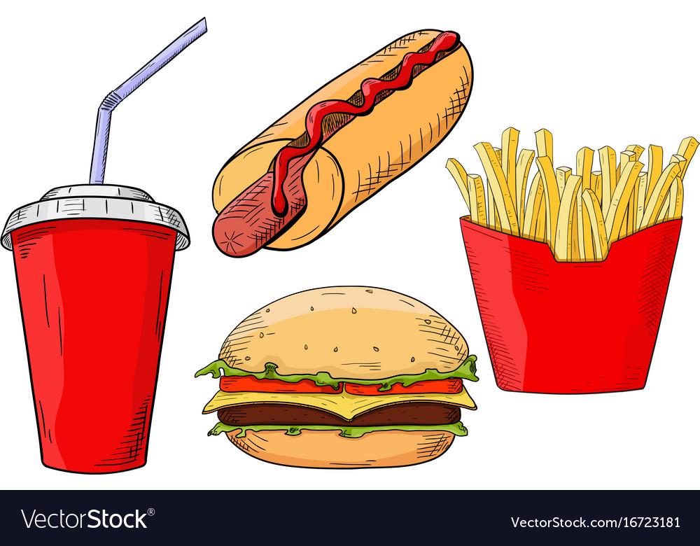 Fast food set - hamburger hot dog french fried vector image