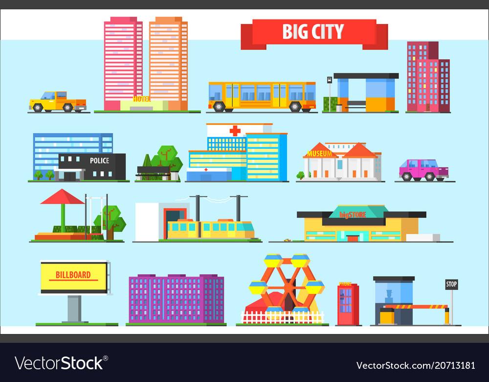 Flat set of big city elements children vector image