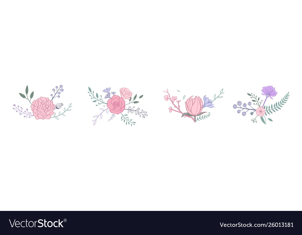 Floral pastel color bouquet with rose