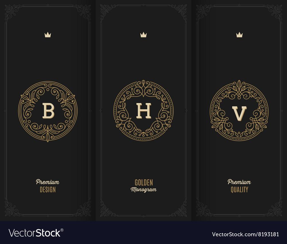 Flourishes golden monograms