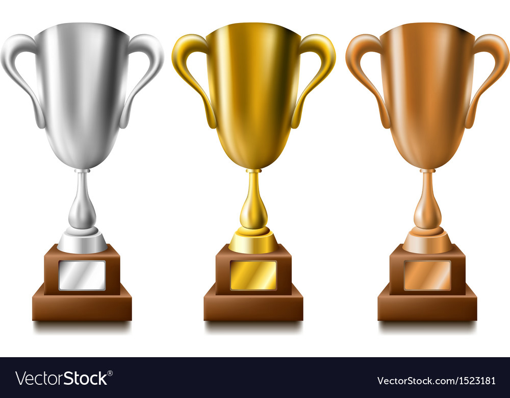Gold silver and bronze trophy set