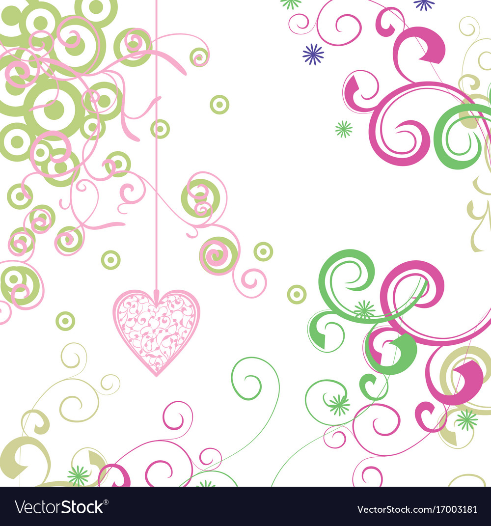 Green and pink heart with florals card