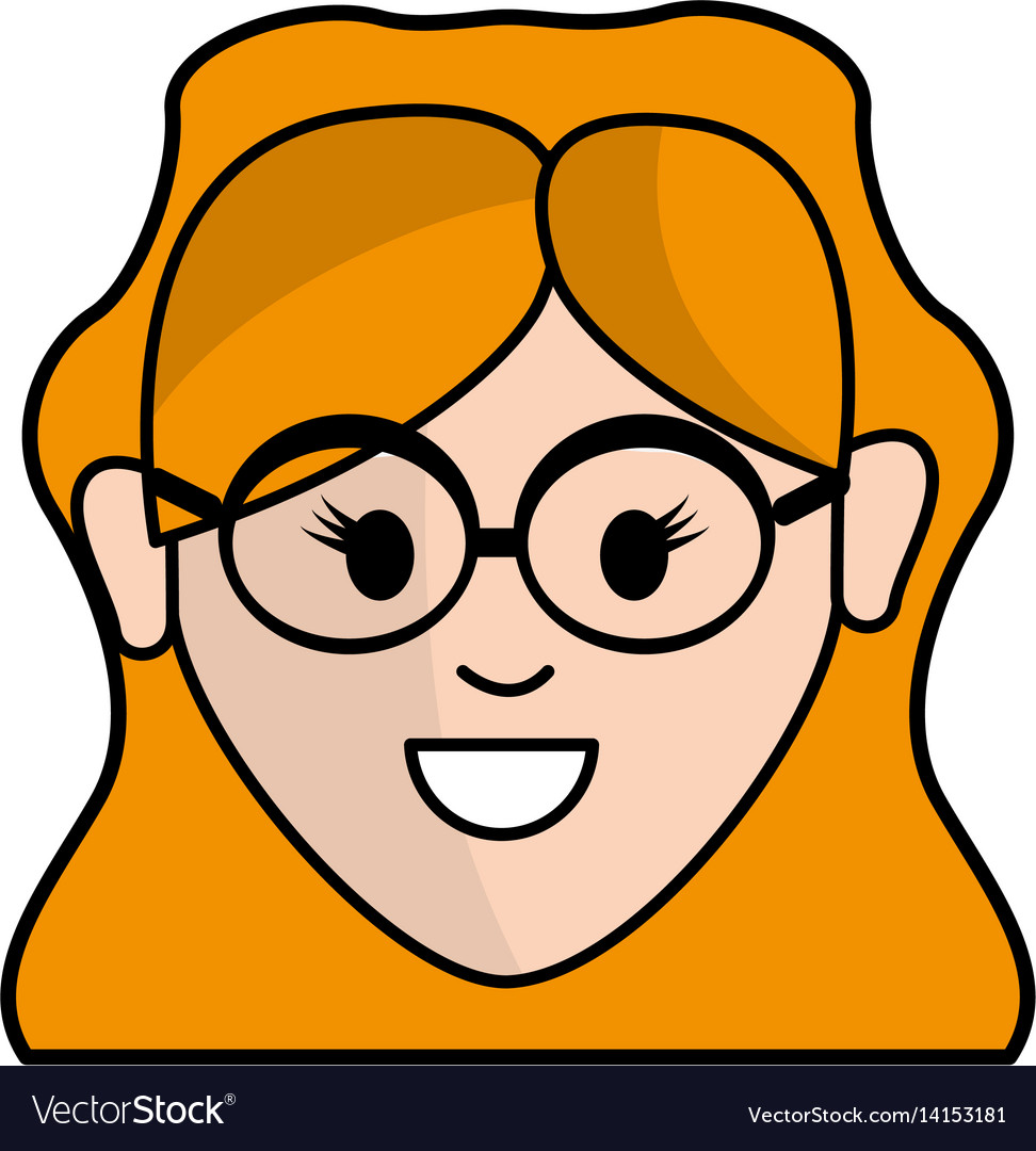 Happy face woman with glasses and hairstyle vector image
