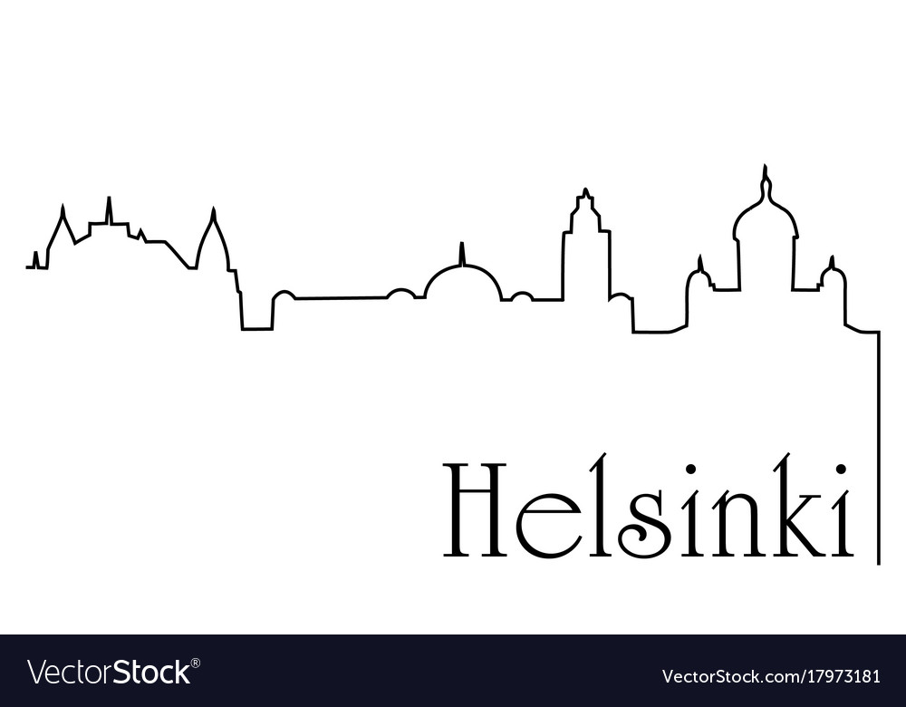 Helsinki city one line drawing background