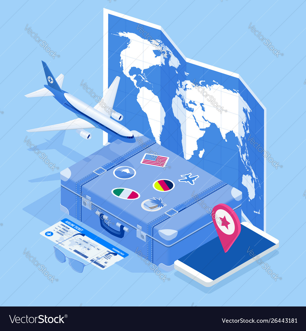 Isometric travel and tourism background buying or