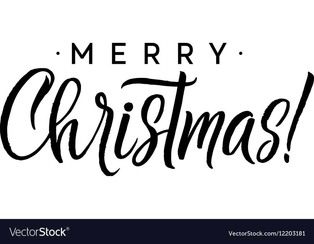 Christmas Calligraphy.Merry Christmas Calligraphy Template Greeting