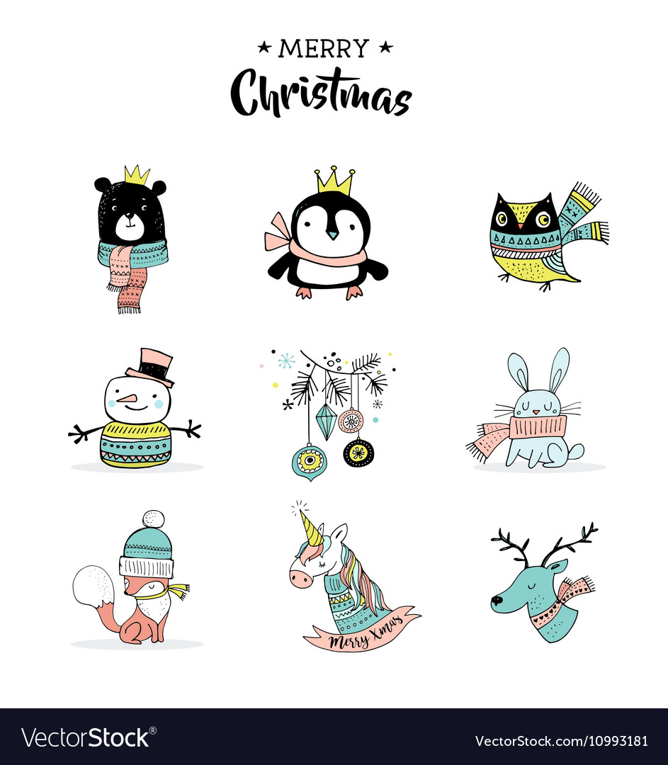 Merry Christmas hand drawn cute doodles stickers