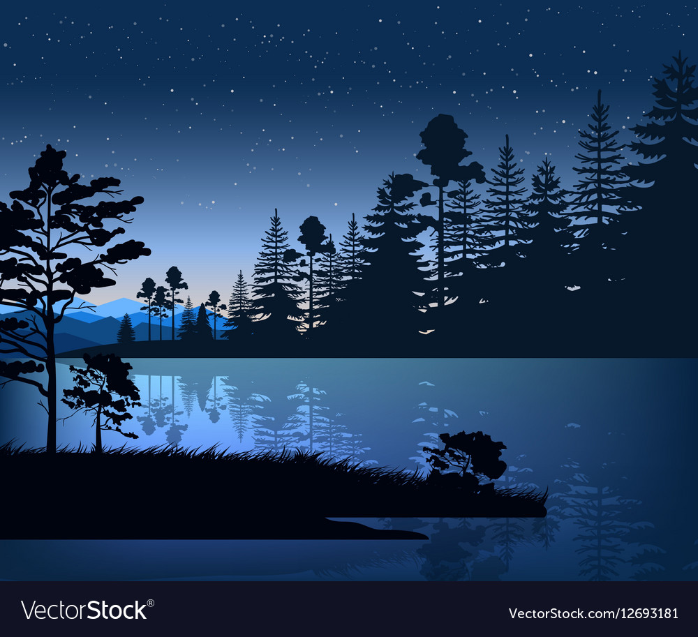 Nature backdrop of mountains and lake landscape vector image