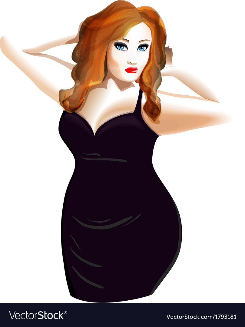Plus size model in a black dress Royalty Free Vector Image