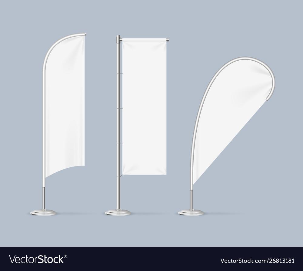 Realistic detailed 3d white blank adv beach flag