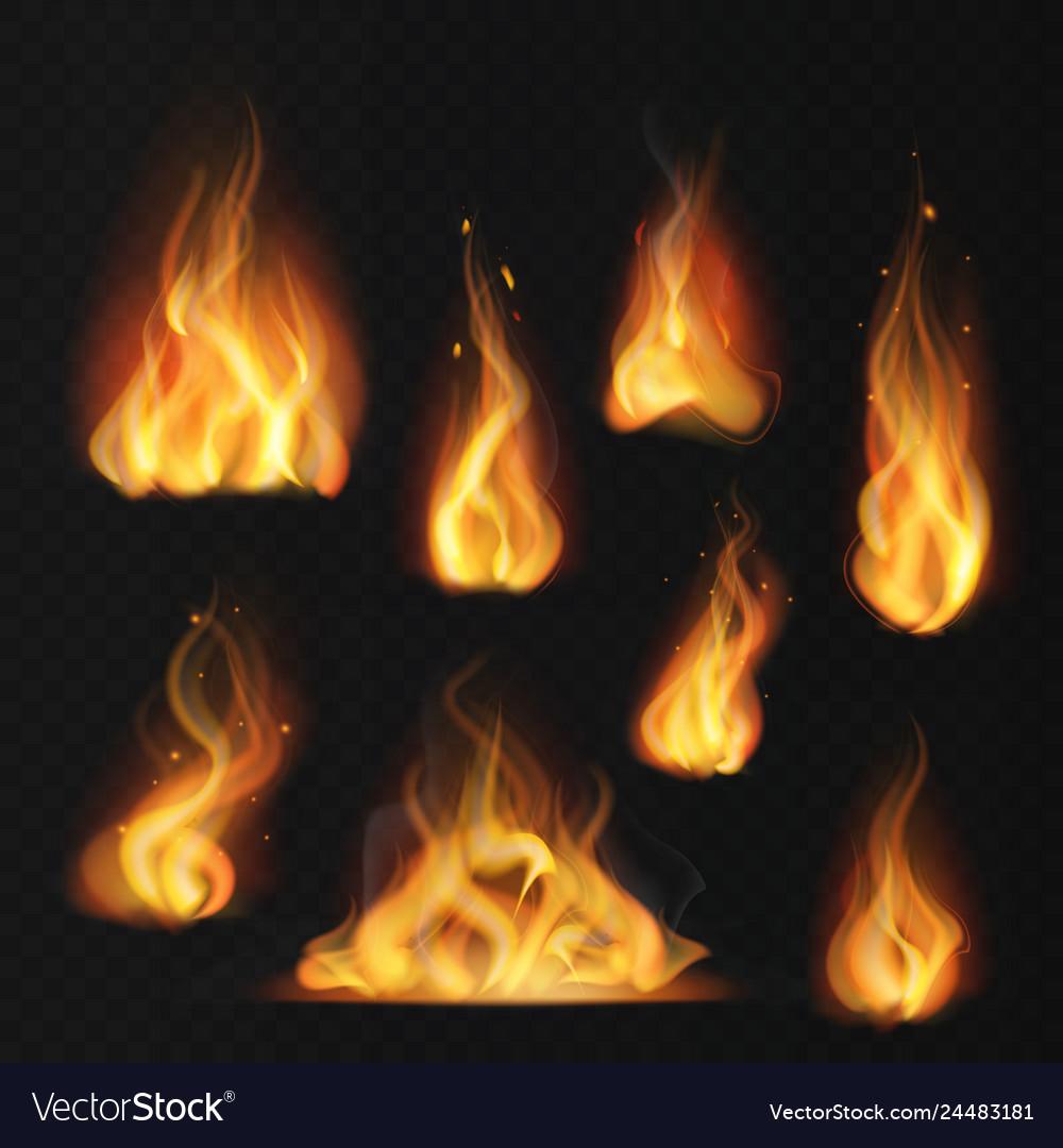 Realistic flame fireball warm fire effect