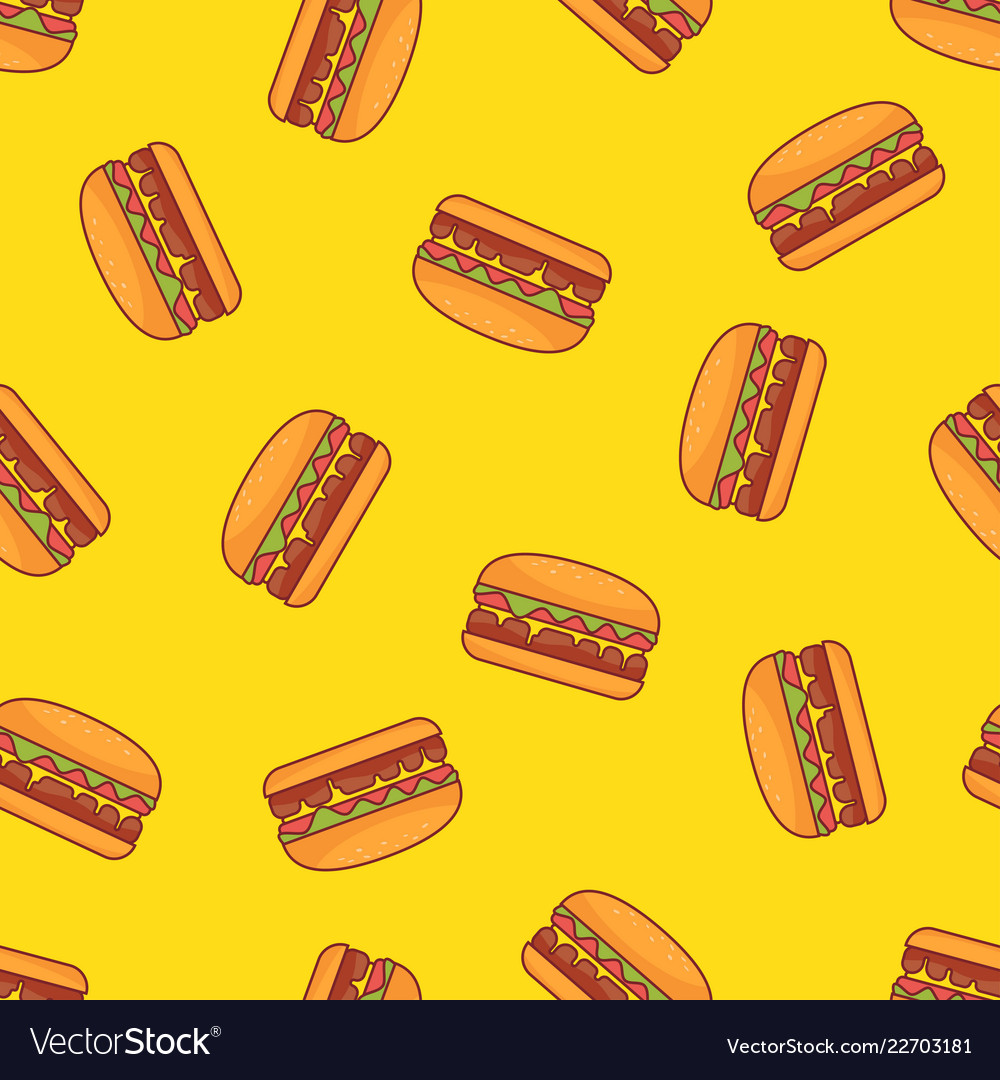 Seamless pattern of burger with yellow background