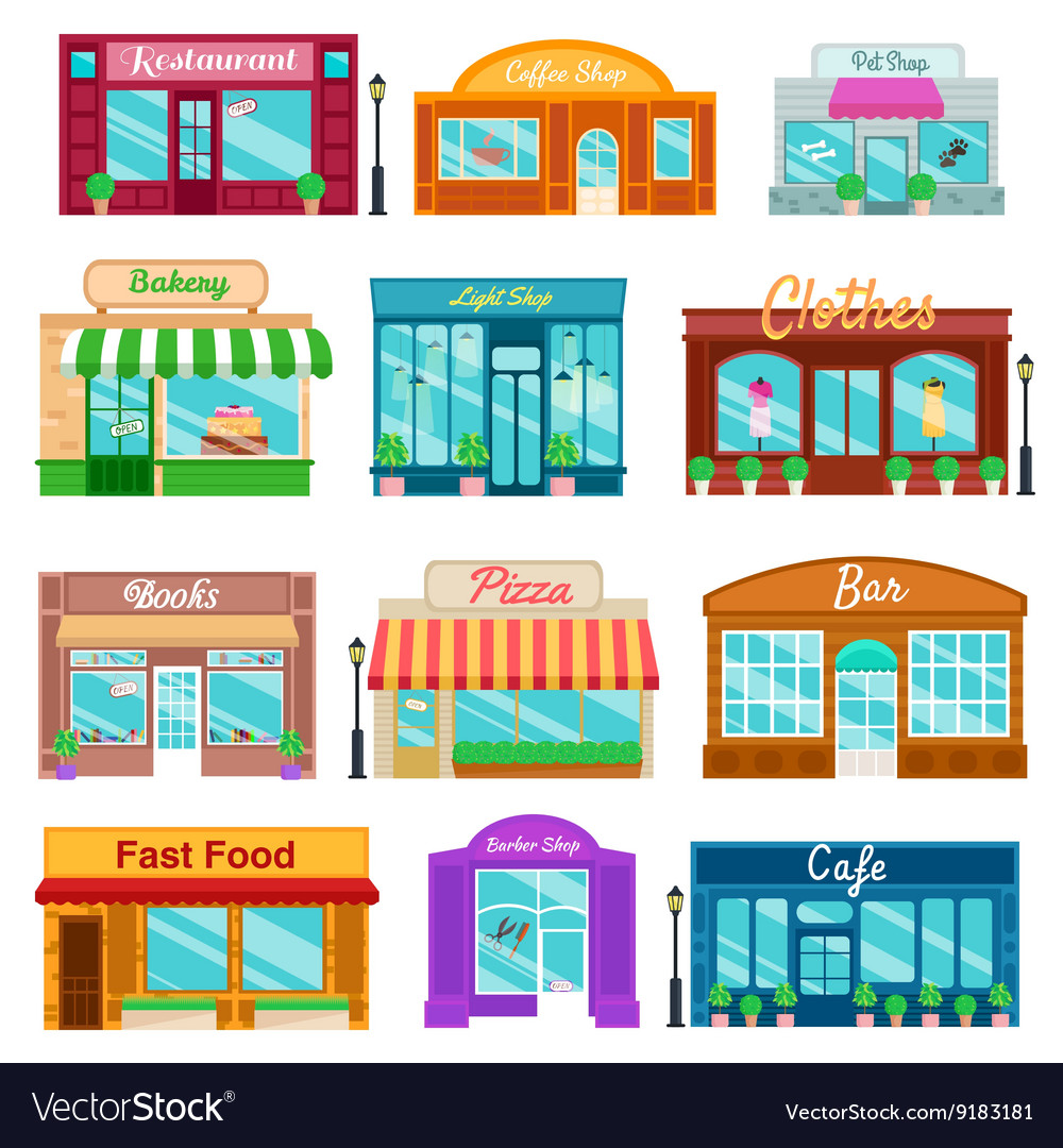 Shops and stores front icons set flat style